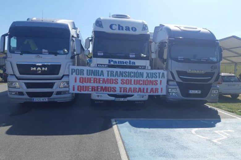 Los transportistas gallegos del carbón siguen en su lucha